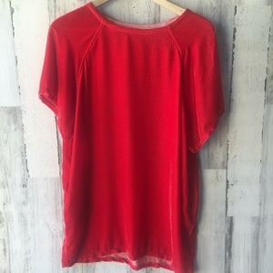 Free People CP Shades Take It Easy Red Velvet Top